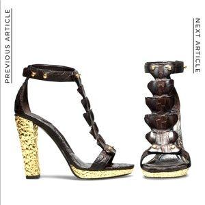 $5k Tom Ford Alligator Gladiator Sandal Heels 39